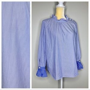 Ann Taylor Blue Pinstriped Ruffle Blouse MP